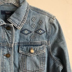 CHAPS Embroidered Jean Jacket